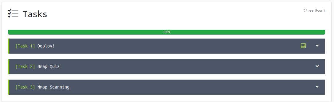 Captura de tela do Try Hack Me mostrando todas tarefas em verde, completas